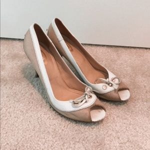 Tods canvas and leather peep toe pumps 8 A7